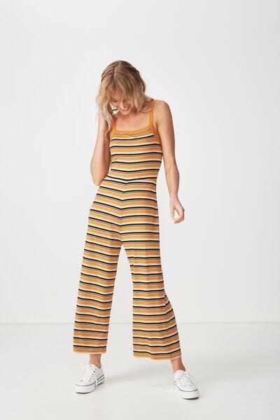 Valerie Strappy Wide Leg Jumpsuit, CAMILA STRIPE INCA GOLD RIB