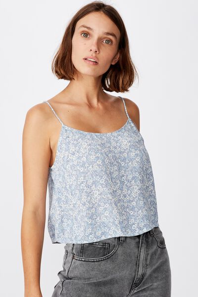 Astrid Cropped Scoop Neck Cami, STEPHANIE FLORAL COUNTRY BLUE