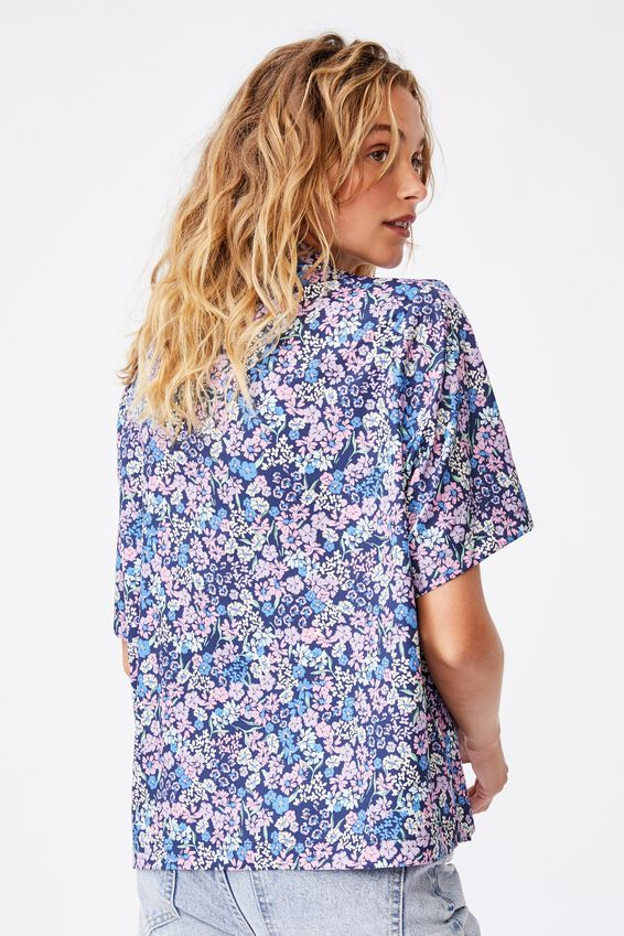 Capri Short Sleeve Shirt, EMILY FLORAL MIDNIGHT FESTIVAL