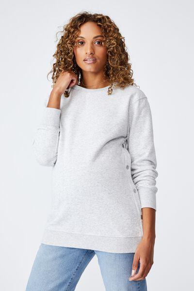 Maternity Button Side Fleece, GREY MARLE