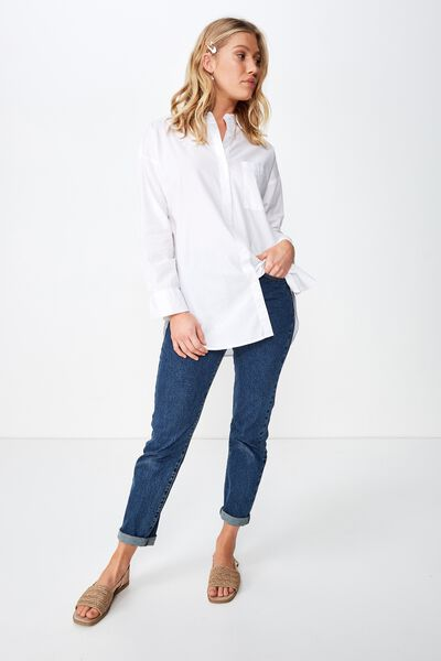 Piper Oversized Shirt, WHITE