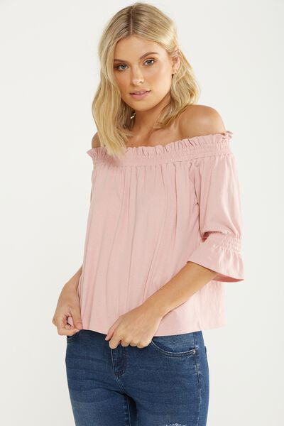 Stacey Off The Shoulder Ruffle Top, COSMETIC PINK