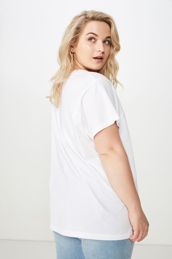 Curve Graphic Tee, AMORE/WHITE