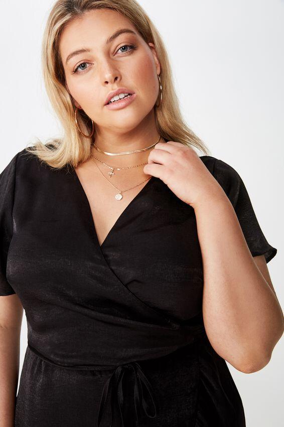 Curve Wrap Dress, BLACK