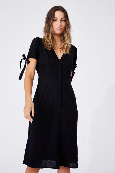 Woven Chantelle Button Through V Neck Midi Dress, BLACK