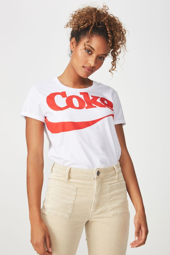 Tbar Fox Graphic T Shirt, LCN COKE LOGO/WHITE