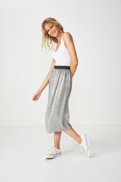 Woven Daria Pleated Midi Skirt, SILVER METALLIC