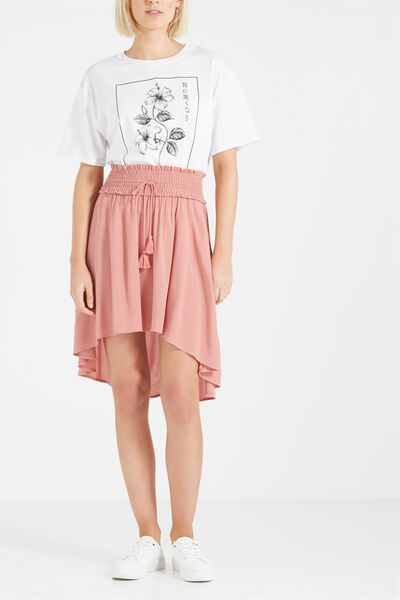 Woven Romy Shirred Midi Skirt, BLUSH