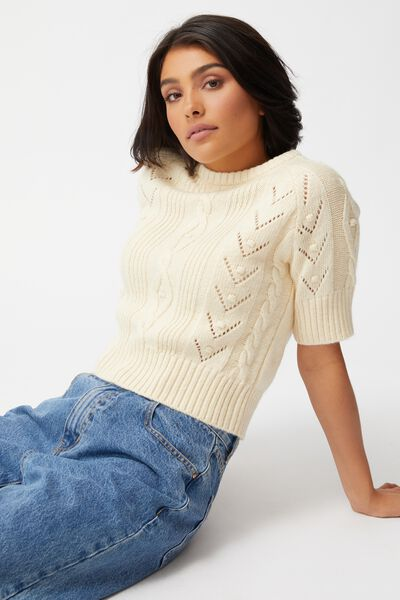 Cable Short Sleeve Cotton Blend Pullover, PASTRY