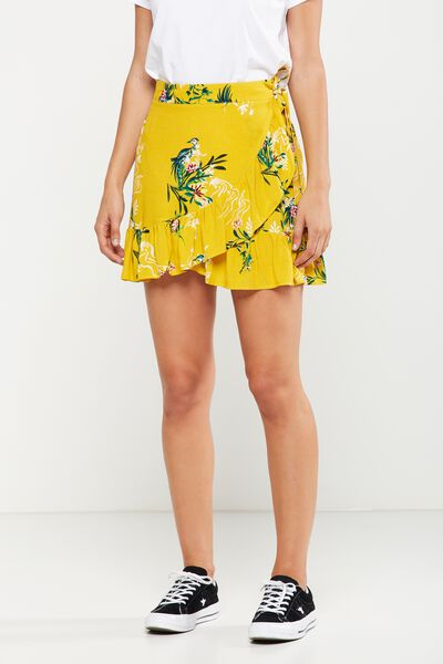 Woven Thea Wrap Mini Skirt, PENNY ORIENTAL LEMON