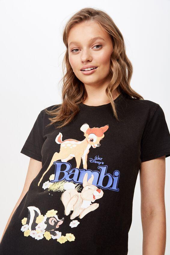 Classic Disney T Shirt, LCN DIS BAMBI/BLACK