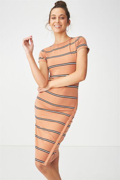 Anthea Short Sleeve Midi Dress, REMI STRIPE SAHARA/BLACK/WHITE