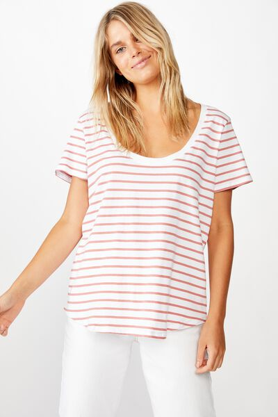 The One Scoop Tee, COLE STRIPE WHITE/CANYON ROSE