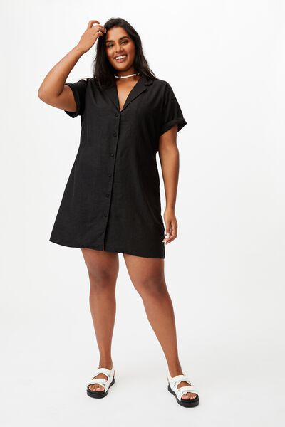 Curve Shirt Dress, BLACK