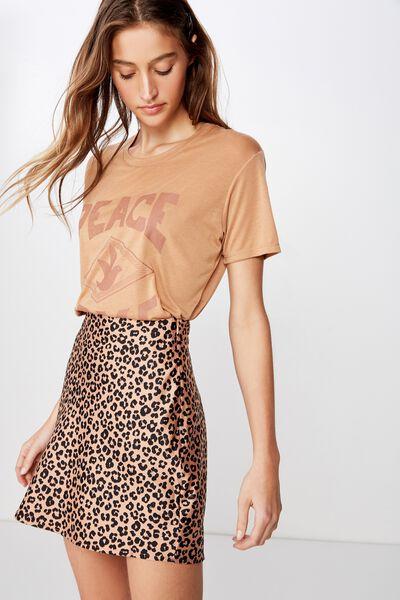 Woven Betty Bias Mini Skirt, KIRSTY LEOPARD NEUTRAL SMALL