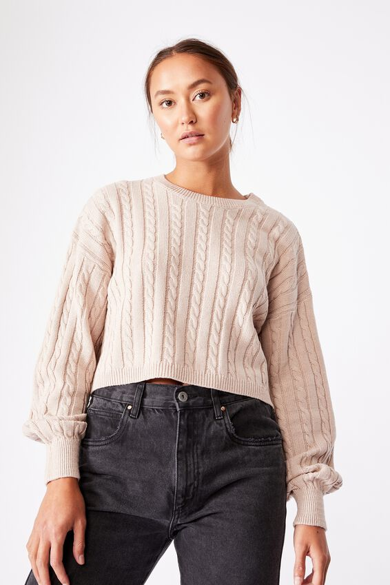 Cable Co-Ord Pullover, SILVER STONE