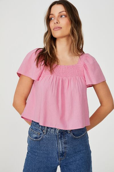Flutter Sleeve Blouse Petite, PINK CHERRY BLOSSOM