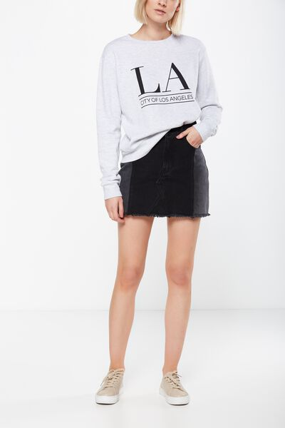 A Line Mini Spliced Denim Skirt, BLACK