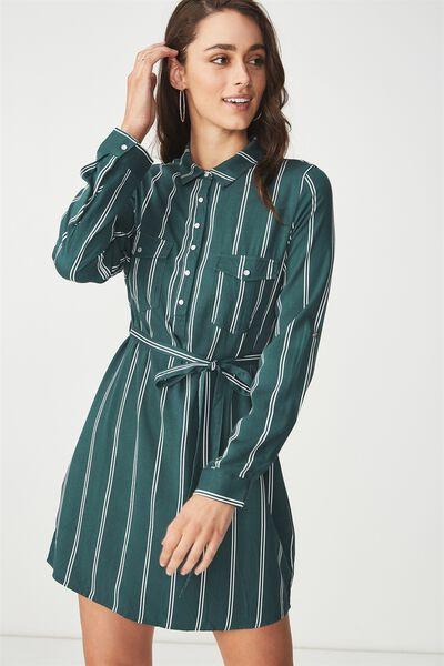 Woven Tammy Long Sleeve Shirt Dress, LOLA STRIPE TREKKING GREEN/WHITE VERTICAL
