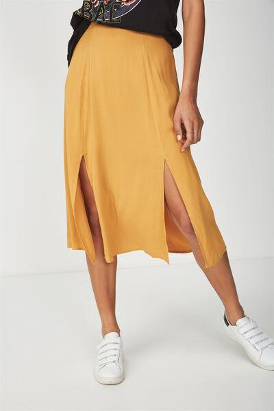 Woven Julia Split Midi Skirt, SPRUCE YELLOW