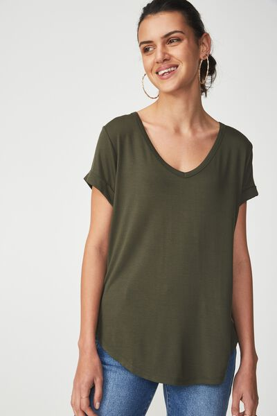 Karly Short Sleeve V Neck Top, DARK KHAKI 2
