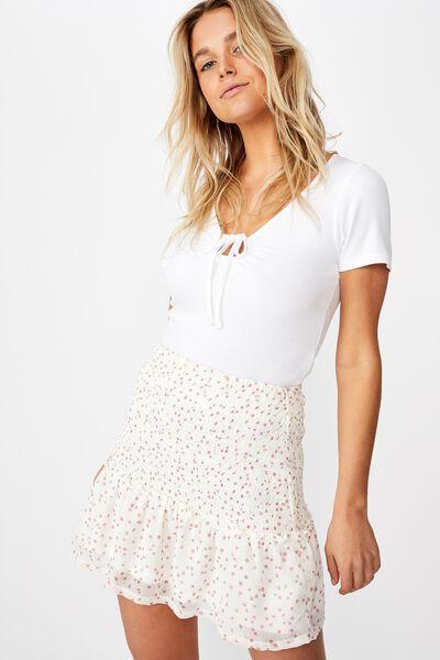 Venus Shirred Mini Skirt, CARLY DITSY CANNOLI CREAM