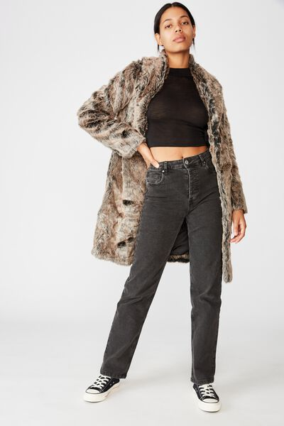 Luxe Fur Coat, BROWN