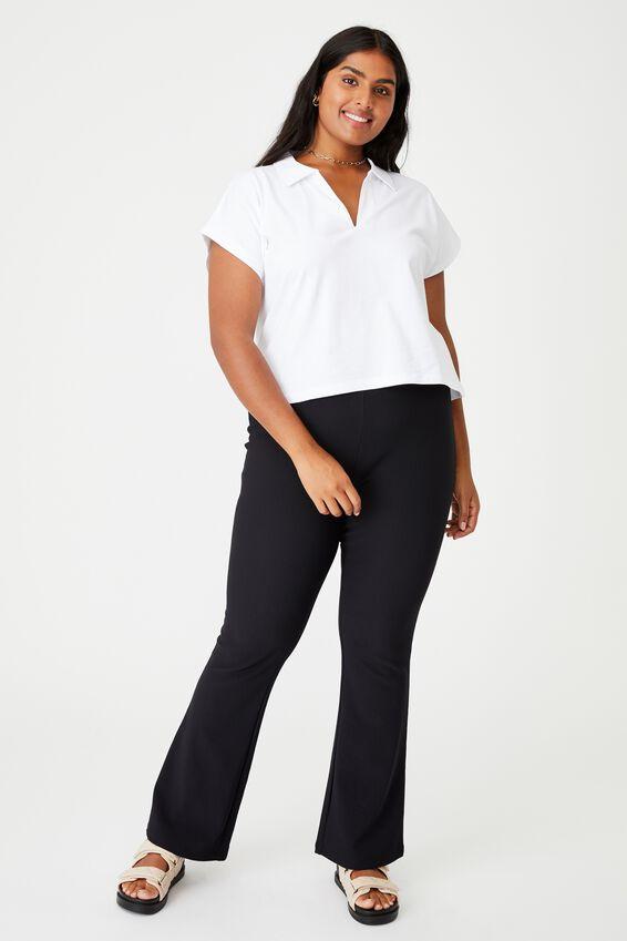 Curve Romi Short Sleeve Polo Top, WHITE