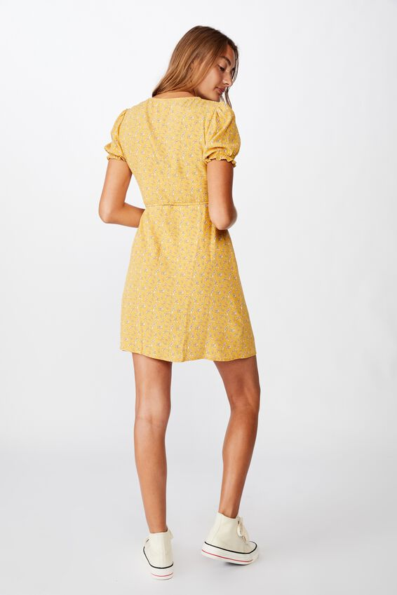 Woven Amy Wrap Mini Dress, JENNY LEAF HONEY GOLD