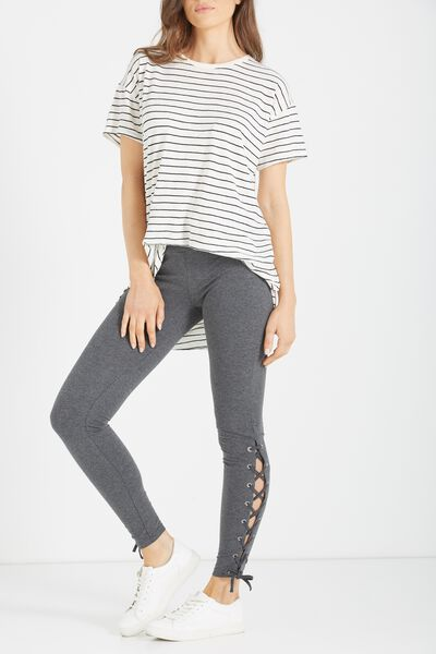 Tranquil Legging, SIDE LACE UP/ CHARCOAL MARLE