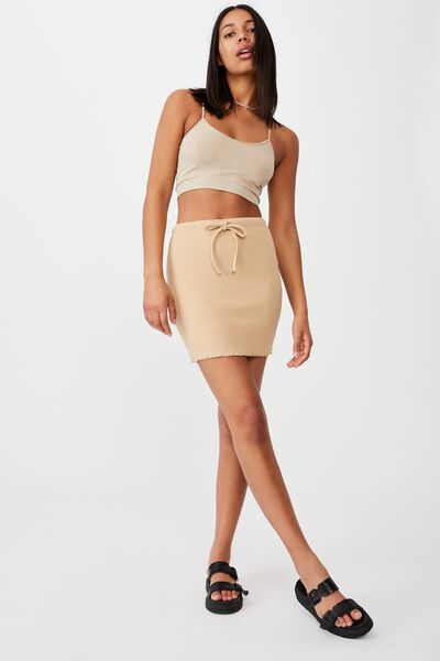 Streamline Ribbed Mini Skirt, WARM STONE