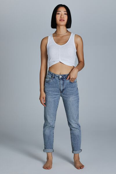 Petite Stretch Mom Jean, CABARITA BLUE