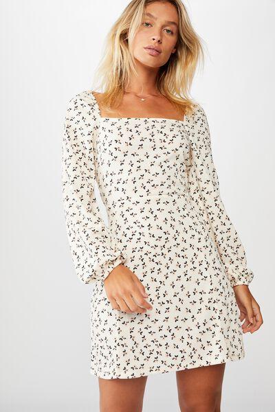 Fiona Long Sleeve Mini Dress, AIDAN DITSY PINK SAND