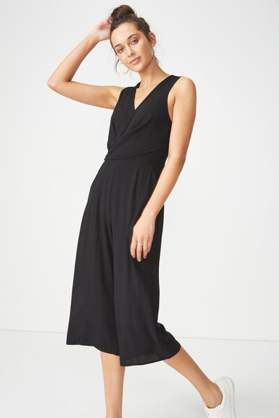 Woven Maya Twist Front Jumpsuit, BLACK