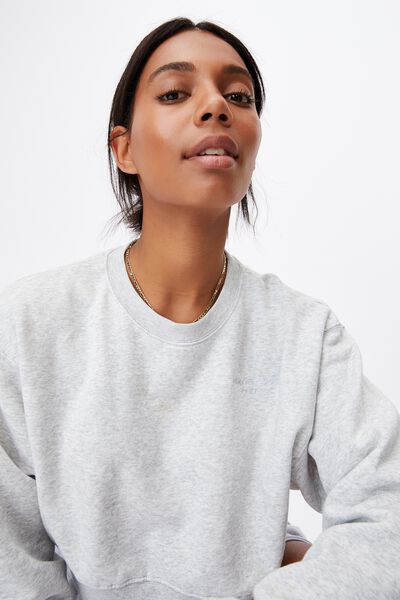 Graphic Classic Cropped Crew, LIGHT GREY MARLE/ SPORT & REC WHITE
