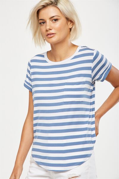 Kathleen Short Sleeve Top, MARI STRIPE WHITE/CADET BLUE MARLE