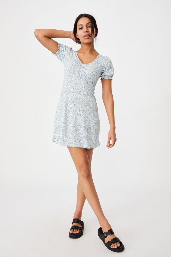 Brianna Ruched Front Mini Dress, ROBYN DITSY PALE BLUE