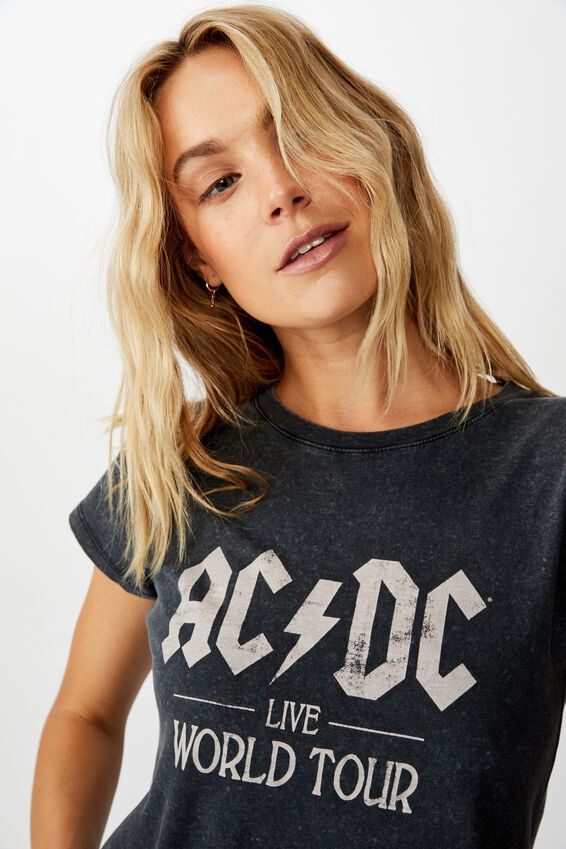 Essential Band T Shirt, LCN PER ACDC WORLD TOUR/BLACK