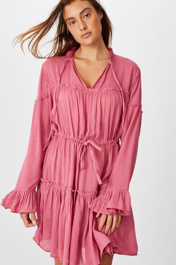 Woven Carni Smock Mini Dress, ROSE WINE