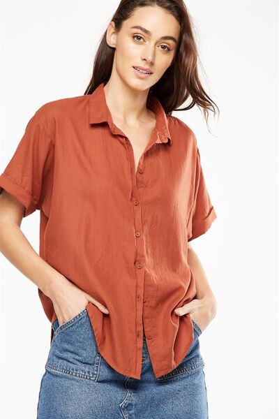 Cassie Short Sleeve Shirt, COPPER BROWN
