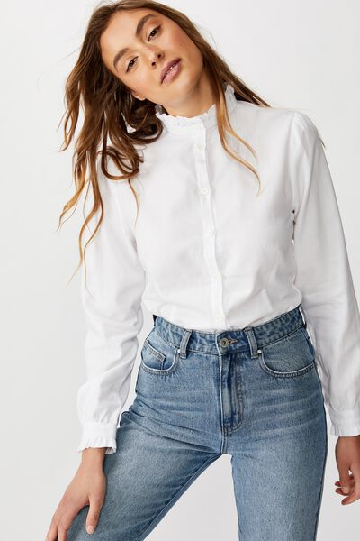 Femme Country Frill Shirt, WHITE