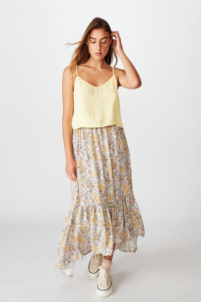 Astrid Cropped Tie Strap V Neck Cami, MELLOW YELLOW