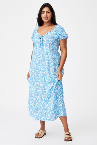 Curve Woven Casey Midi Dress, LENA DITSY CLASSIC BLUE