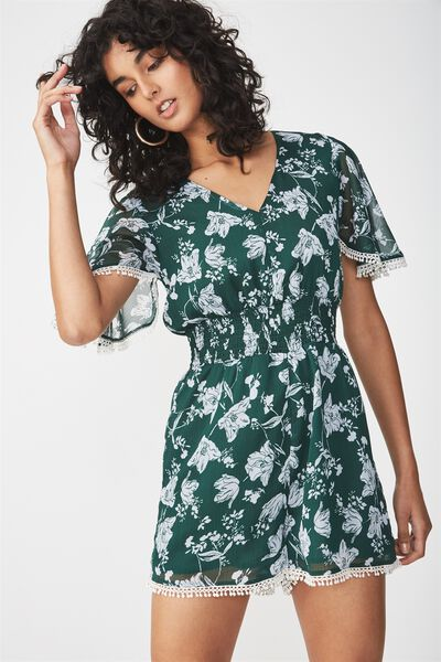 Woven Laura Flutter Sleeve V Neck Playsuit, ELLIE FLORAL SMALL TERKKING GREEN