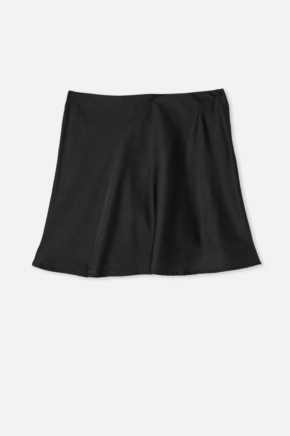 Simple Slip Mini Skirt, BLACK