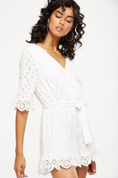 woven elly embroidered romper, WHITE BROIDERIE