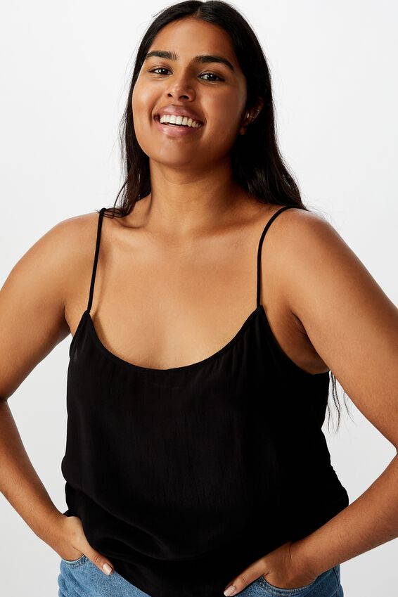 Curve Astrid Cropped Scoop Neck Cami, BLACK