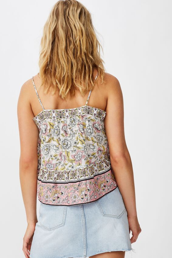 Day Dreamer Button Front Cami, SUNDAY FLORAL BORDER ICY FROZE