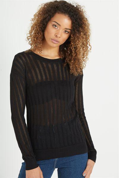 Sabrina Corset Fashion Pullover, BLACK