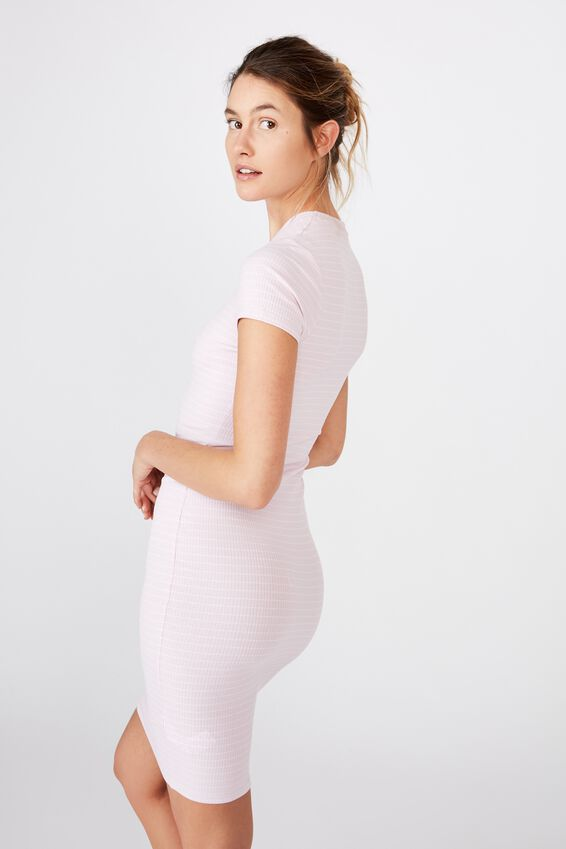Essential Short Sleeve Bodycon Midi Dress, LUCY STRIPE ORCHID/WHITE RIB